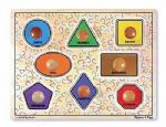 CHILDRENS CHILD MELISSA AND DOUG GEOMETRIC SHAPES LARGE PEG WOODEN PUZZLE JIGSAW